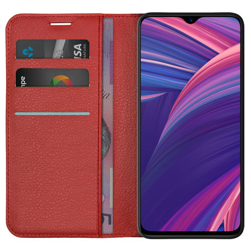 Leather Wallet Case & Card Holder Pouch for Oppo R17 Pro - Red